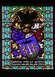 Coat of arms of Ban Countess Ludvine Pejacevic, stained glass in Zagreb cathedral. Dedicated to the Assumption of Mary royalty free stock photos