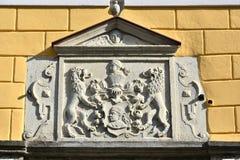Emblem of the Brotherhood of blackheads in Tallinn. Estonia stock image