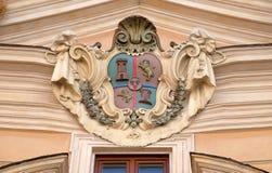 Coat of arms of Castile and Leon. On facade of Santissima Trinita degli Spagnoli Church in Rome, Italy Royalty Free Stock Images