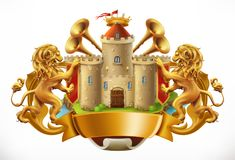 Coat of arms. Castle and lions. vector icon Royalty Free Stock Photos