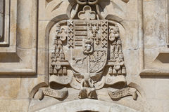 Coat of arms in the cathedral of Burgos Stock Images