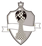 Coat of arms chess pawn and crown, vector Stock Photo