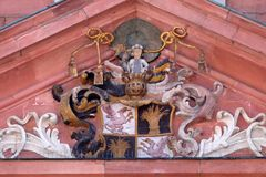 Coat of arms of the church builder on the portal of Our Lady church in Aschaffenburg, Germany.  Stock Photos