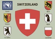 Coat of arms. Cities of Switzerland Stock Photos
