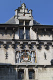 Coat of arms of the city of Antwerp above the gate of the Steen Stock Photo