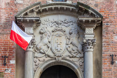 Coat of arms of the city of Gdansk on the entrance to City Hall Royalty Free Stock Photography