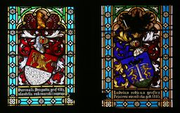 Coat of arms of Count Eltz and Countess Ludvine Pejacevic. Stained glass in Zagreb cathedral dedicated to the Assumption of Mary royalty free stock photography