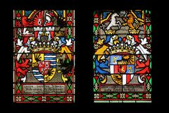Coat of arms of the Count Khuen Hedervary and Countess Telleki, stained glass in Zagreb cathedral. Dedicated to the Assumption of Mary stock images