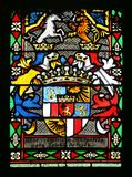 Coat of arms of Countess Telleki, stained glass in Zagreb cathedral. Dedicated to the Assumption of Mary in Zagreb stock photography