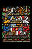Coat of arms of Countess Telleki, stained glass in Zagreb cathedral. Dedicated to the Assumption of Mary royalty free stock photography
