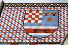 Coat of Arms Croatia. Coat of Arms of Croatia on a roof top formed by tiles Royalty Free Stock Image