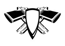 Coat of Arms with Desert Eagle. In black and white colors. Vector Shield with weapon on white background Stock Photo