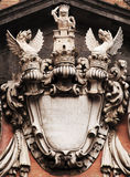 The coat of arms of the Dragons. Particular coat of arms consists of two dragons and a lion with a sword three feet you can see every detail Stock Image