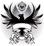 Coat of arms with eagle. An abstract gray tone drawing of a coat of arms featuring a fierce eagle Stock Image
