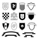 Coat of arms elements set, vector illustration Stock Images