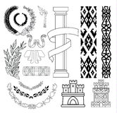 Coat of arms elements set, vector illustration Royalty Free Stock Photos