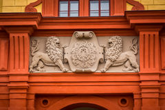 The coat of arms on the entrance to the Basilica of St. Procopius complex Stock Photo