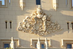 Coat of arms on facade of castle Lednice Chateau, Czech republic Stock Image
