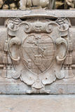 Coat of arms at famous Residenz Fountain in Salzburg, Austria. Royalty Free Stock Photos