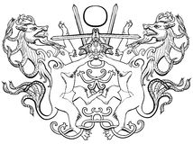Coat of arms fantasy animal sword fight Royalty Free Stock Images