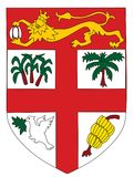 Coat of arms of Fiji. Coat of arms of Fiji - Fear God and honour the Queen Stock Photo