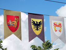 Coat of arms flags. Medieval coat of arms flags in Medias, Romania Royalty Free Stock Photography