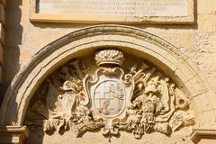 Cathedral coat of arms, Mdina. Royalty Free Stock Photography