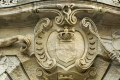 Old Bayern coat of arms at the facade of building. The coat of arms of the German state of Bavaria has greater and lesser versions. It had been introduced by law Stock Photography