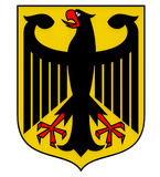 Coat of arms of Germany. Black eagle on a yellow field, 3d render Royalty Free Stock Image