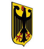 Coat of arms of Germany. Black eagle on a yellow field, 3d render Stock Photo