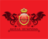 Coat of arms Golden Crown and Shield with Dragons Royal Business Stock Image