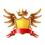 Coat of arms. Golden crown, shield wings Vector illustration. Coat of arms. Golden crown, shield wings Vector 3d illustration vector illustration