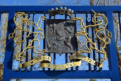 Coat of arms granted to the Barons Rothschild by Emperor Francis I of Austria. Zichron Ya`akov, Israel - March 03, 2018 : coat of arms of the Barons Rothschild Stock Image