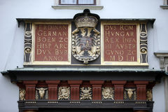 Coat of arms of the Habsburg monarchy at the Hofburg in Vienna. Austria Royalty Free Stock Photography