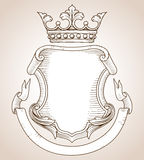Coat of Arms. Hand-drawn, highly detailed Coat of Arms illustration. Copy space available on shield and banner for your text or image. Colors can be edited vector illustration