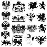Coat of arms and heraldic animals set Royalty Free Stock Photography
