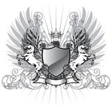 Coat of arms with horse. Eagle,crown, and swirl floral elements stock illustration