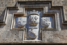 Coat of Arms of a Hospitaller Knight in Rhodes, Greece Stock Photo