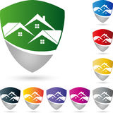 Coat of arms and houses, roofs, real estate and roofing logo Royalty Free Stock Photography