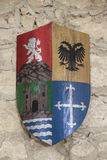 Coat of arms. Of the last name baeza on a wall of stone as background Royalty Free Stock Photo