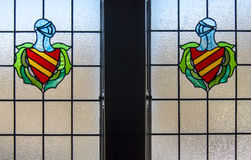 Coat of arms in leaded window pane Royalty Free Stock Images