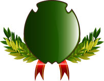 Coat of arms with leaves and ribbon Stock Images