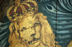 Coat of Arms Lion. Detail of a coat of arms painted in 1803 by an anonymous artist.  The coat of arms forms part of a hatchment - used to decorate a church Royalty Free Stock Photos