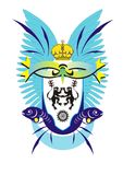 Coat of arms with lions, fishes, crown and blue w Royalty Free Stock Photos