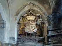 Coat-of-arms made with bones in Sedlec ossuary Stock Images