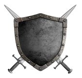 Coat of arms medieval knight shield and crossed. Swords isolated on white stock photo