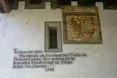 Coat of arms and motto at the Rheintor Gate tower in Constance Stock Image