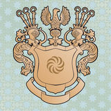 Coat of arms. Old coat of arms on the starry background Stock Photos