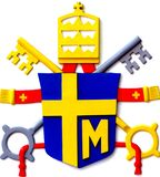 Coat of arms of the Polish Pope Paul II placed the reconstructio Stock Image
