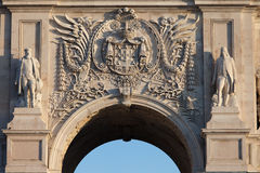 Coat of arms of Portugal on Rua Augusta Arch in Lisbon Royalty Free Stock Photo